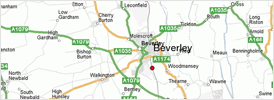 Coverage area of Dave Collinson ADI Hull Driving Instructor